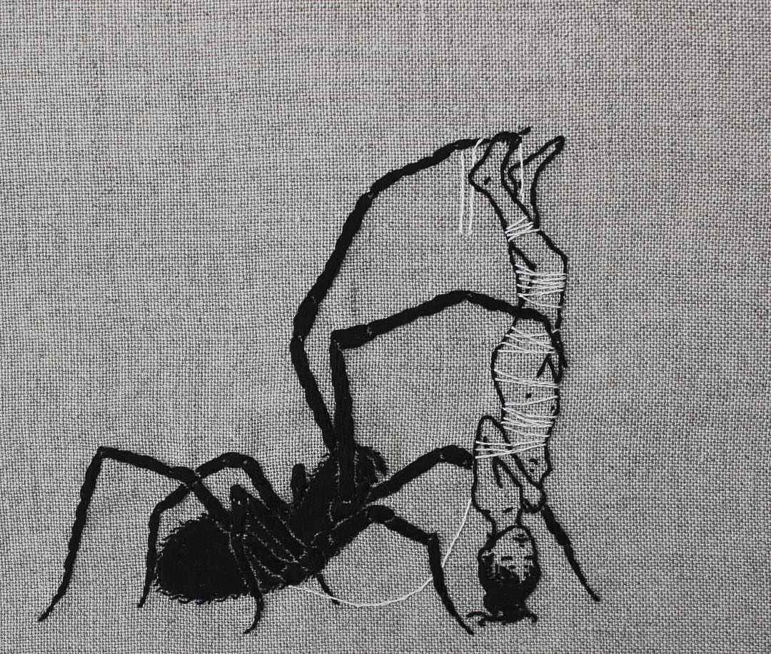 Hand embroidery on linen