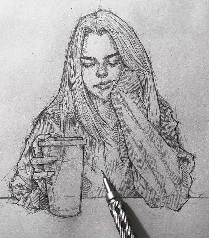 Desenho a lápis sketch artista efraín malo arte no papel